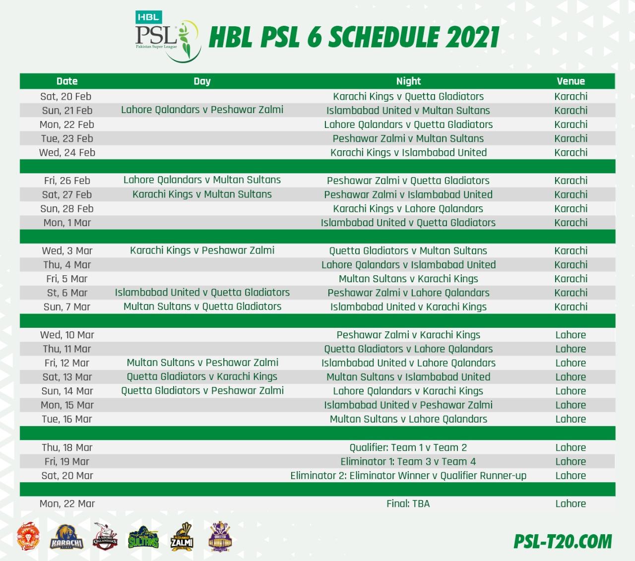 HBL PSL6 2021 schedule